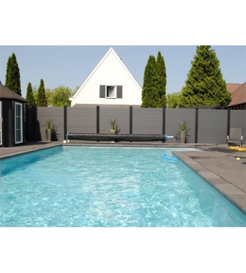 Kunststoff Zaun, 200 cm hoch, schwarz oder grau, pro Laufmeter inkl. 1 Pfahl